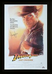 Harrison Ford Indiana Jones Framed Signed The Last Crusade Movie Poster - Bas
