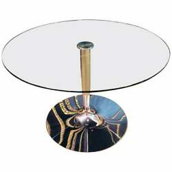 High Quality Modern Round Glass Table With Chrome Foot From The Brand Calligaris
