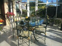 Italian Glass Table With Ceramic Bowl Plus 6 Chairs