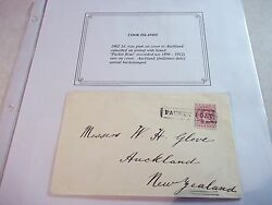 Rare Cook Islands Packet Boat Cover 1902 Rose 1d Stamp To New Zealand Nz