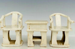 4 Old Chinese Ding Kiln Porcelain Classical Furniture Tablet Chair Stool Set