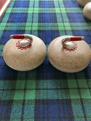 A Superb And Large Rare Pair Of Red Scots Granite Outdoor Curling Stones C1900