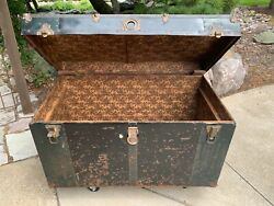 Antique 1900s Steamer Trunk Riveted Metal And Wood Original Hardware