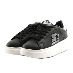 Shoes Sneakers Casual Starter Black Label Woman Black Leather Silver Upturn