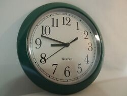 Westclox 9 Quartz Wall Clock Green Frame White Dial With Black Numbers