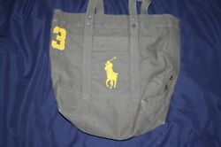 Polo by Ralph Lauren Ladies Green Canvas Bag Beach Tote Embroidered Pony Logo $39.99