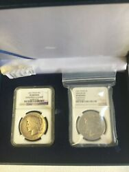 1921- Lot 02 Peace Dollars Ngc Vf And Vg Rare Date In Box