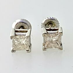 Natural Diamond Princess Cut Stud Earrings 1.30 Tcw In 14k Solid White Gold