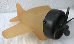 Andrea By Sadek Tinchi Frosted Amber Glass Brass/metal Airplane Lamp Night Light