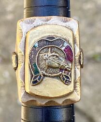 Vintage Mexican Biker Ring Lucky Horseshoe Colt Horse Mexico Stamp Tiki Sz 8 31g