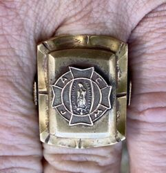 Rare Vintage Mexican Biker Ring Virgin Mary Lady Guadalupe Tiki Heads 32g - Sz 9