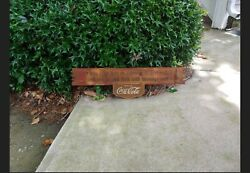 Vintage Coca Cola Ye Who Enter Here Wooden Kay Advertising Sign