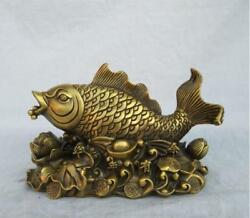 Chinese Feng Shui Pure Copper Carp Lotus Carp More Than A Year Decoration