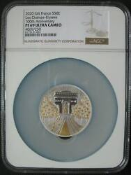 France 50 Euro 2020 Silver Proof 5oz Gilt Coin Les Champes-elysees Ngc Pf69