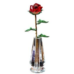Flower Figurines Crystal Rose Glass Paperweight Craft Gifts Home Decor Ornaments