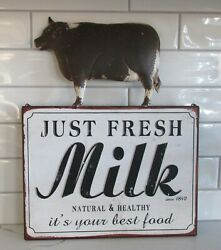 Dairy Milk Cow Wall Signprimitive Home/french Country Farmhouse Kitchen Decor