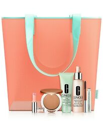 New Clinique Sunny Day Staples 5 Pc Full Size With Tote Bag. 151.00 Value..