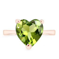 Heart Cut August Birthstone Peridot 10k Rose Gold Solitaire Ring