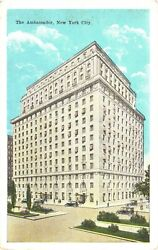 View Of Cars And People Passing The Ambassador Hotel In New York City Postcard