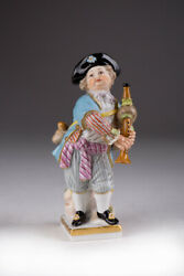 Antique 1860-1924 Collectible Figurine Meissen Boy With A Bagpipes Marked 10.2cm