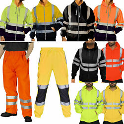 Fashion Hi Vis High Visibility Mens Tracksuit Safety Work Outfits Hoodies Pants