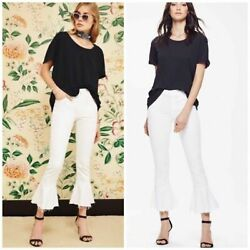 Nwt Mother Cha Cha Fray Flared Cropped Jeans In Glass Slipper White  Sz 28