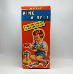 Vintage Merit Ring A Bell Plastic Nursery Rattle Toy In Rare Box