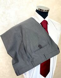 New Brioni 100 Gray Wool + Black Leather Details Pants Size 56 46 Us