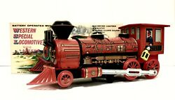 Vintage Battery Operated Mystery Action Western Special Locomotive Tin Train