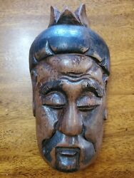 Hand Carved Asian Mask Face Man Vintage Antique 8 Heavy Wood