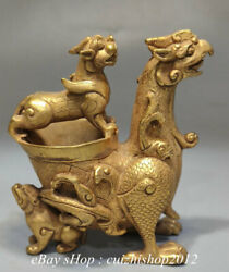 4 Old Chinese Bronze 24k Gold Gilt Dynasty Palace Phoenix Beast Drink Wine Cup