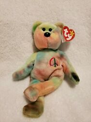 Genuine Ty Beanie Babies Peace Bear Retired W/tag And Errors Mint Condition