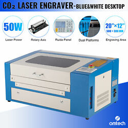 Omtech 50w 20x12 Co2 Laser Engraving Cutting Engraver Machine With Rotary Axis