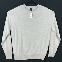 Nwt J Crew Textured Cotton Crewneck Sweater For Men In Beige Size Large