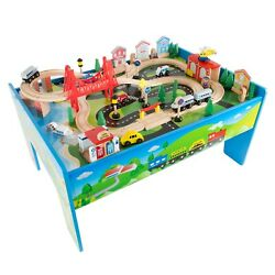 Hey Play Wooden Train Set And Table For Kids Complete Set With 75 Pieces Durable