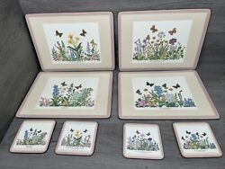 """Set Of 6 Pimpernel Butterflies Place Mat W/ Coasters 1 Missing 📖 9"""" X 12"""
