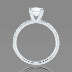 1 1/3 Ct Diamond Engagement Ring Round Cut F/si1 14k White Gold Size 6