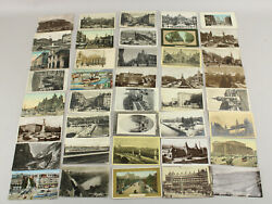 Lot Of 40 Vintage Antique Trolley And Train Postcards Ww Rppc Scarce Some Unused