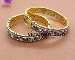 2 Pic Victorian Dainty Rose Cut Diamond Engagement Bangle 925 Sterling Silver