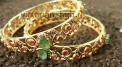 2 Pc Victorian Dainty Flower Diamond Sterling Silver And 14 K Gold Plated Bangles