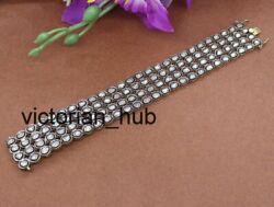 Antique Victorian Diamond Polki Bracelets 925 Sterling Silver And Gold Plated