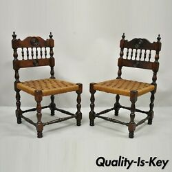 Antique Henry Ii Walnut Rush Seat Small Childrens Child Side Chairs - A Pair