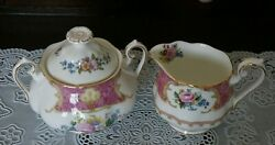 Vintage Royal Albert Lady Carlyle Large Creamer And Covered Sugar Bowl, England