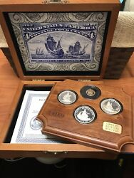 The Fleet Of Columbus Proof Set Of 4 Coins Limited Edition W/ Box And Certificate