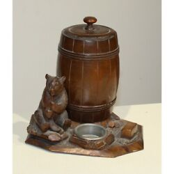 Antique 19th Original Swiss Carved Wood Tobacco Box Bear With The Pipe Brienz