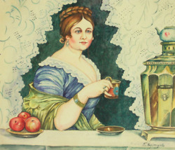 2. Lady With Samovar And Teacup Painting Watercolor On Paper Kustodiev Russian