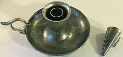 Vintage Pewter Chamberstick Candle Holder With Accompanying Flame Snuffer