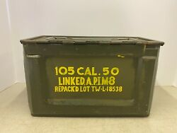 Vtg Ammunition Ammo Side Load Latch Linked 50 Cal Wwii Repacked Flaming Bomb Box