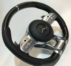 Mercedes-benz W222 C217 Amg Performance Cuir And Carbone Fibre Direction Roue