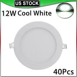 40x 12w Cool White Led Panel Light Recessed Round Ceiling Lamp Kitchen Fixtures